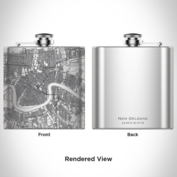 New Orleans - Louisiana Map Hip Flask