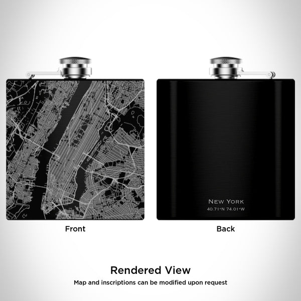 New York - New York Map Hip Flask in Matte Black