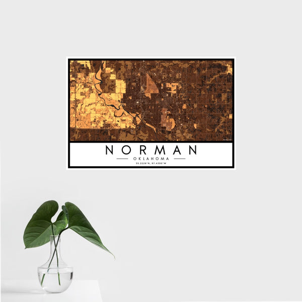 Norman - Oklahoma Map Print in Ember