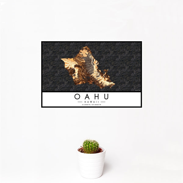 Oahu - Hawaii Map Print in Ember