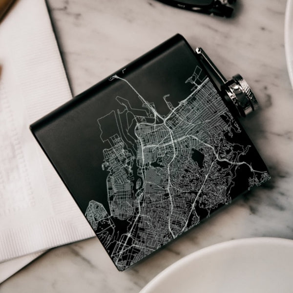 Oakland - California Map Hip Flask in Matte Black