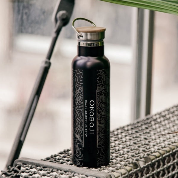 Okoboji Iowa Custom Engraved City Map Inscription Coordinates on 20oz Stainless Steel Insulated Bottle with Bamboo Top in Black