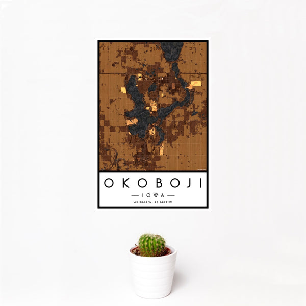 12x18 Okoboji Iowa Map Print Portrait Orientation in Ember Style With Small Cactus Plant in White Planter