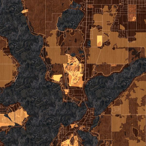 Okoboji Iowa Map Print in Ember Style Zoomed In Close Up Showing Details