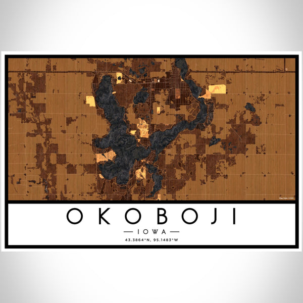 Okoboji Iowa Map Print Landscape Orientation in Ember Style With Shaded Background