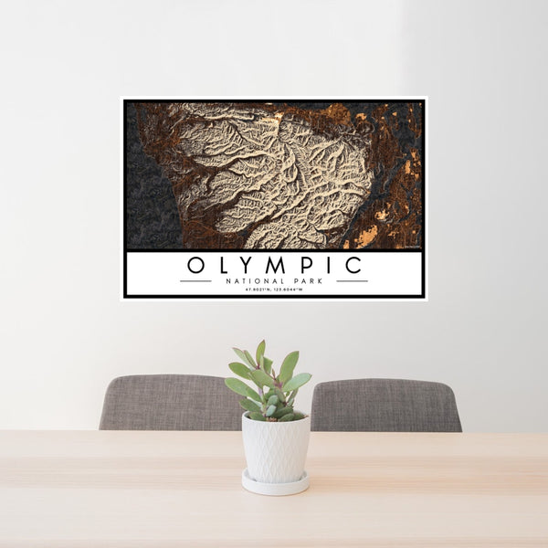 Olympic National Park - Washington Map Print in Ember