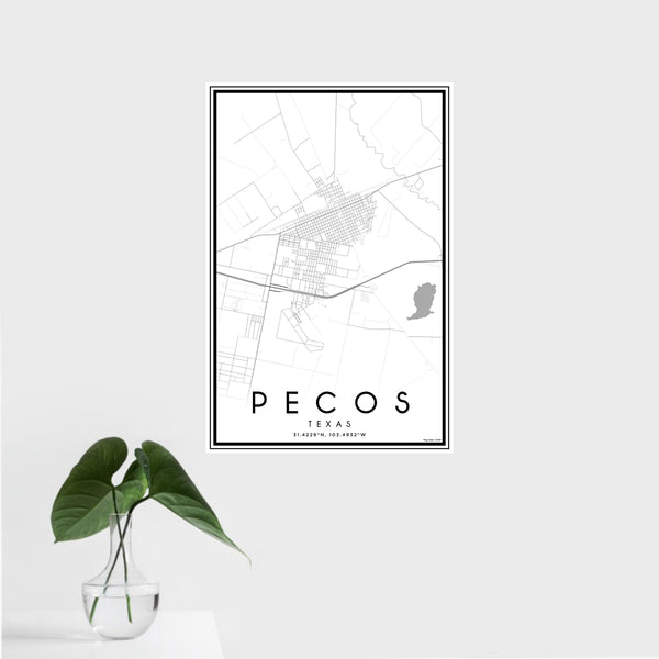 16x24 Pecos Texas Map Print Portrait Orientation in Classic Style With Tropical Plant Leaves in Water