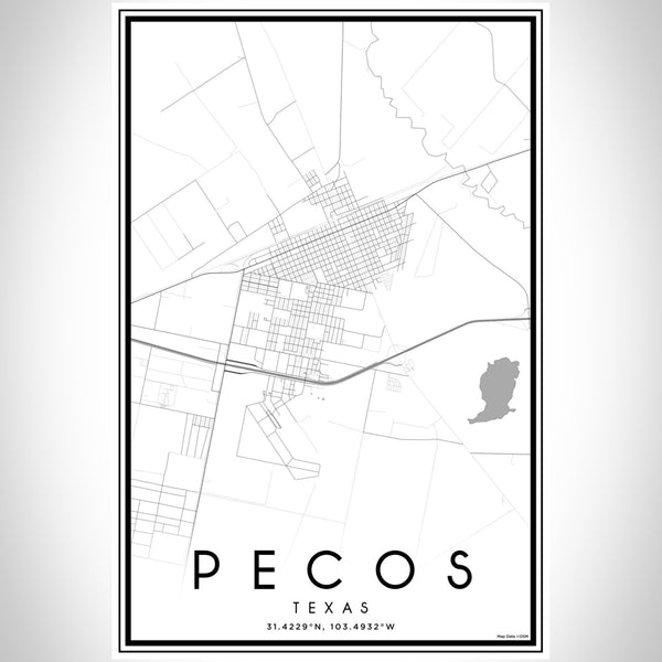 Pecos Texas Map Print Portrait Orientation in Classic Style With Shaded Background