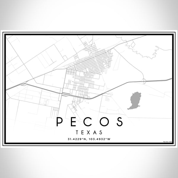 Pecos Texas Map Print Landscape Orientation in Classic Style With Shaded Background