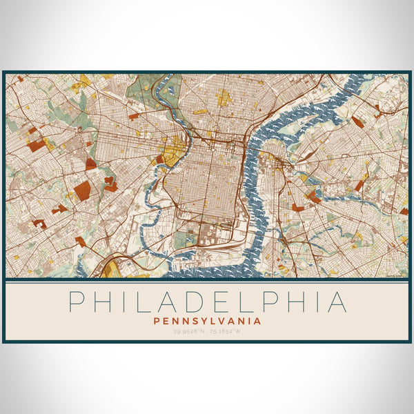 Philadelphia - Pennsylvania Map Print in Woodblock