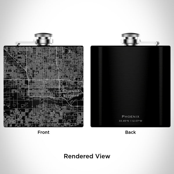 Phoenix - Arizona Map Hip Flask in Matte Black