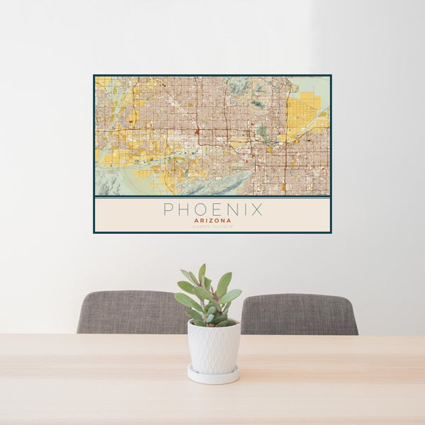 Phoenix - Arizona Map Print in Woodblock