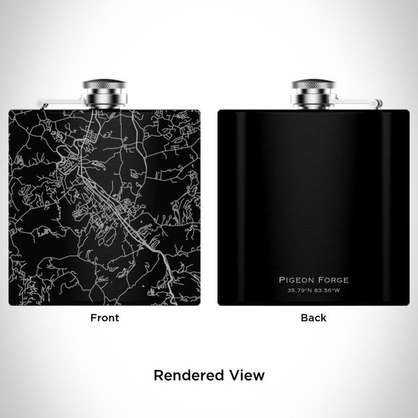Rendered View of Pigeon Forge Tennessee Map Engraving on 6oz Stainless Steel Flask in Black
