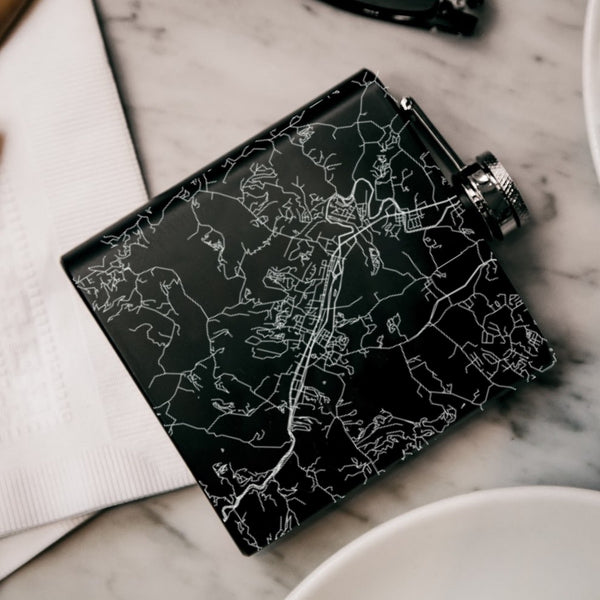 Pigeon Forge Tennessee Custom Engraved City Map Inscription Coordinates on 6oz Stainless Steel Flask in Black