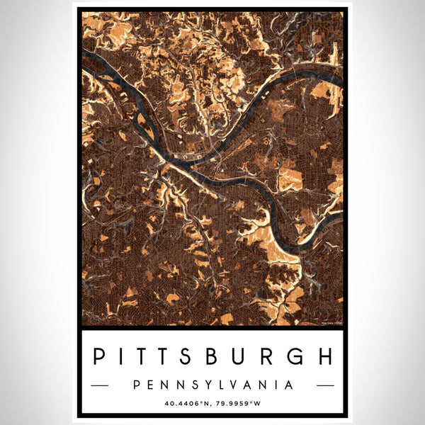 Pittsburgh - Pennsylvania Map Print in Ember