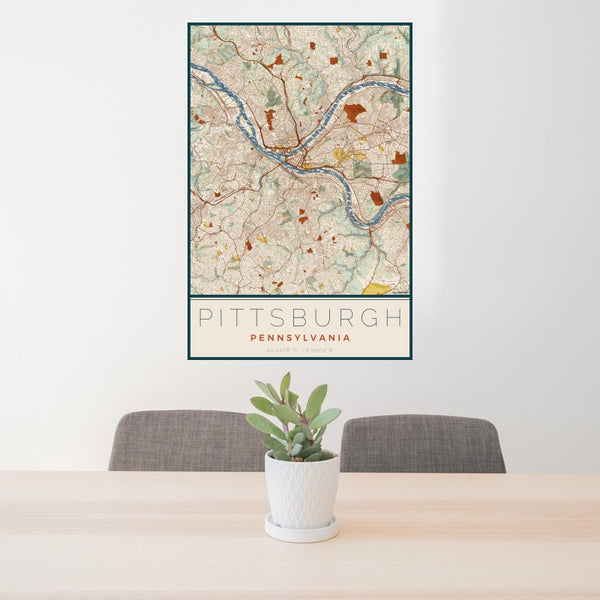 Pittsburgh - Pennsylvania Map Print in Woodblock