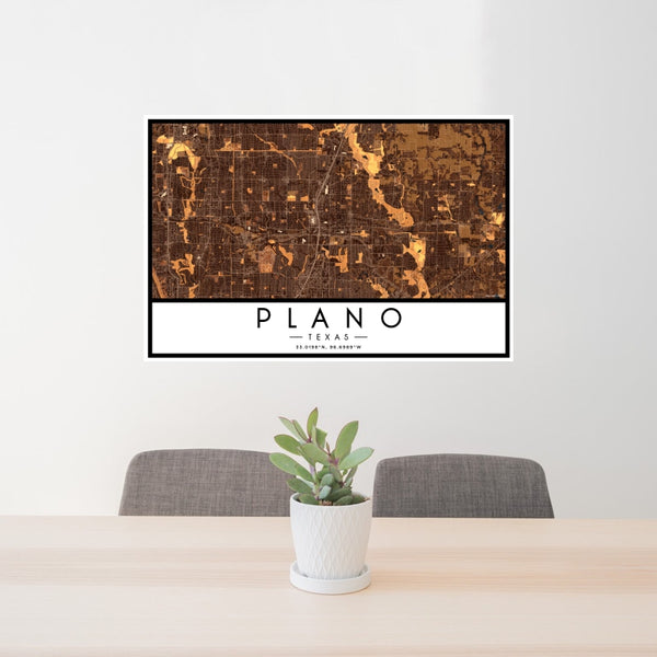 Plano - Texas Map Print in Ember