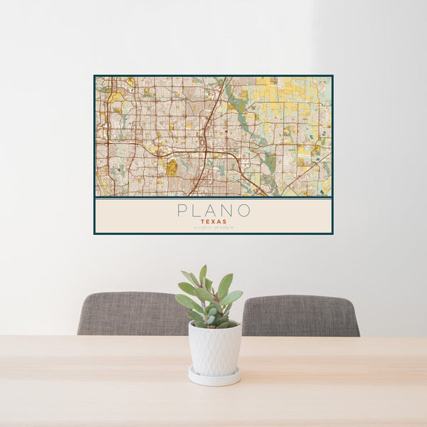 Plano - Texas Map Print in Woodblock
