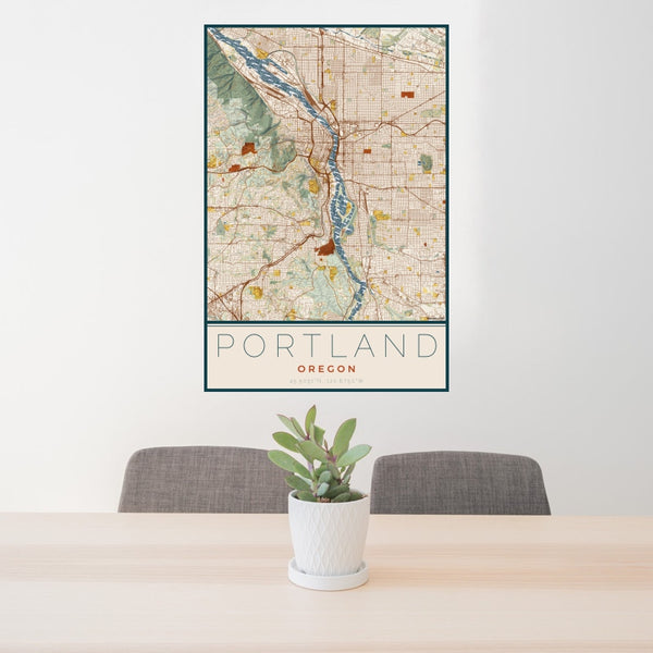 Portland - Oregon Map Print in Woodblock