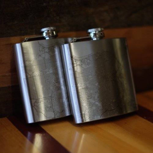 Pair of 6oz Stainless Steel Flask with Custom Engraved Map on Table
