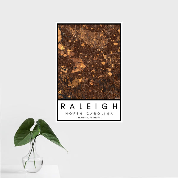 Raleigh - North Carolina Map Print in Ember