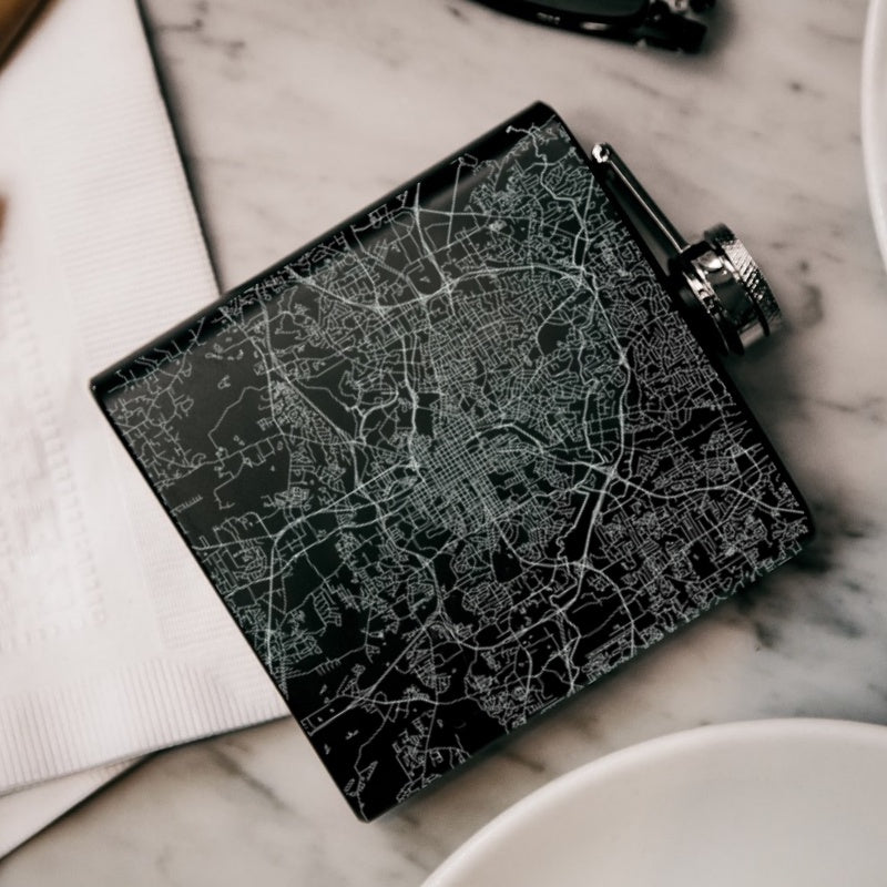 Raleigh - North Carolina Map Hip Flask in Matte Black