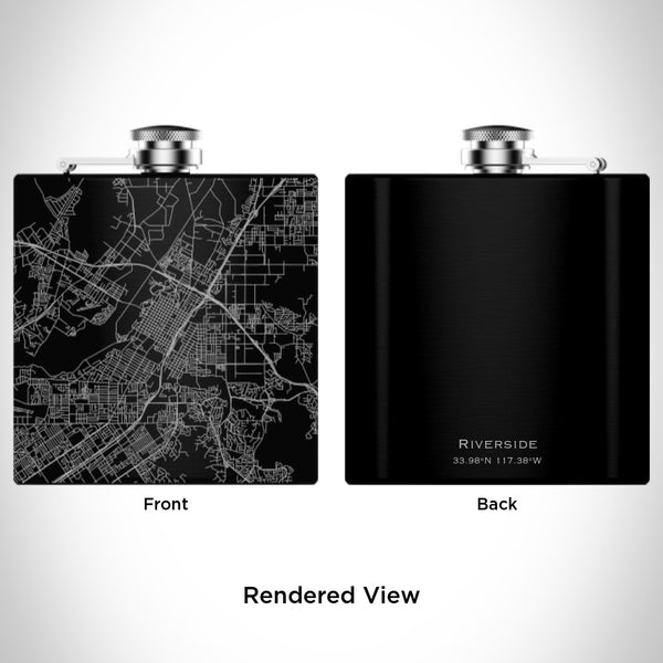 Riverside - California Map Hip Flask in Matte Black