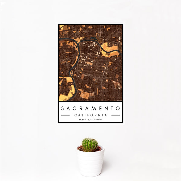 Sacramento - California Map Print in Ember