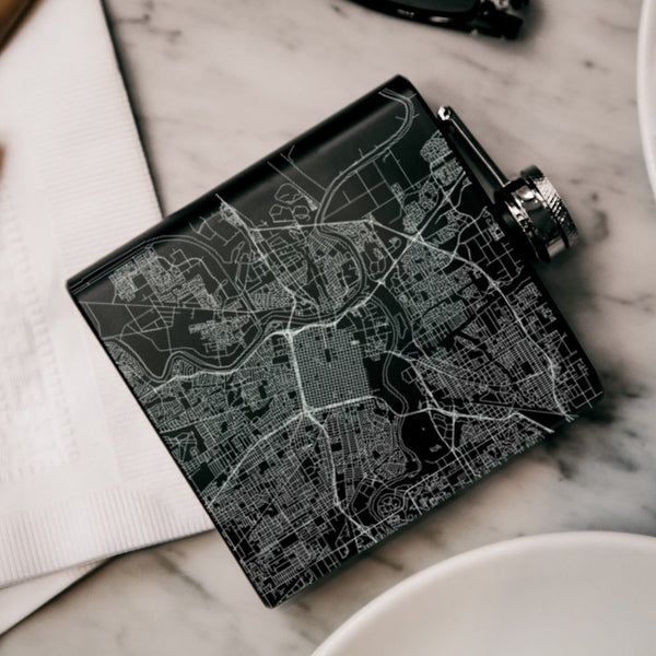 Sacramento - California Map Hip Flask in Matte Black