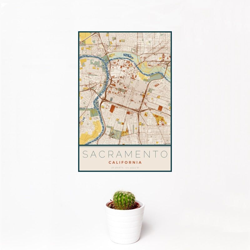 Sacramento - California Map Print in Woodblock
