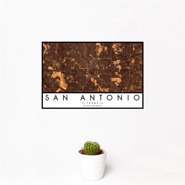 San Antonio - Texas Map Print in Ember