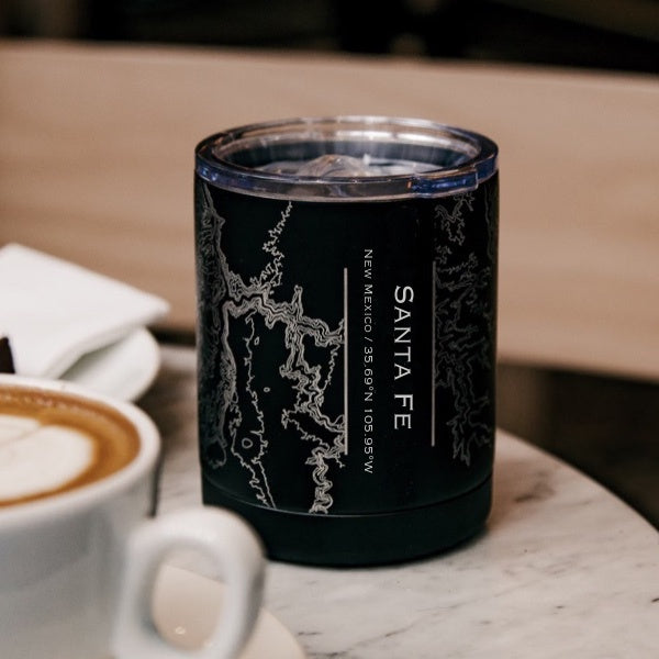 Santa Fe - New Mexico Map Insulated Cup in Matte Black
