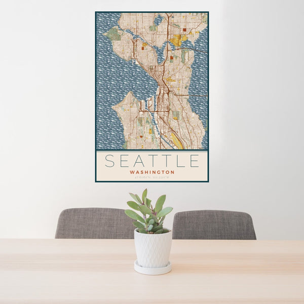 Seattle - Washington Map Print in Woodblock