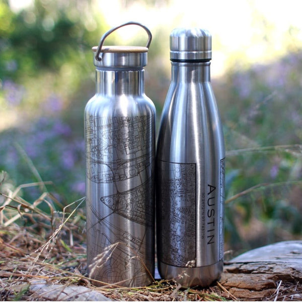 17oz Stainless Steel Insulated Cola Bottle on with Custom Engraved Map on Tree Stump