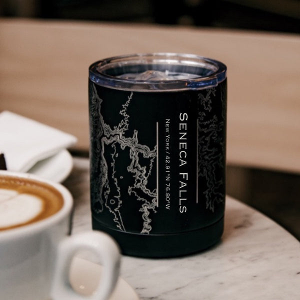 Seneca Falls New York Custom Engraved City Map Inscription Coordinates on 10oz Stainless Steel Insulated Cup with Sliding Lid in Black