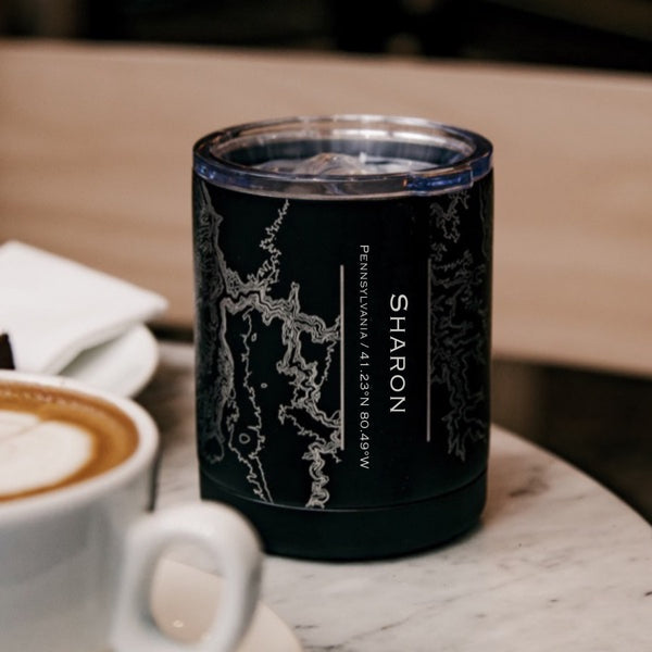 Sharon Pennsylvania Custom Engraved City Map Inscription Coordinates on 10oz Stainless Steel Insulated Cup with Sliding Lid in Black