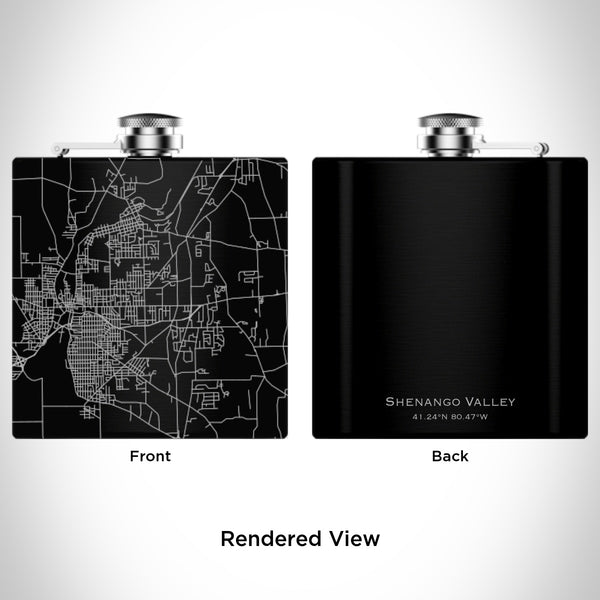 Rendered View of Shenango Valley Pennsylvania Map Engraving on 6oz Stainless Steel Flask in Black