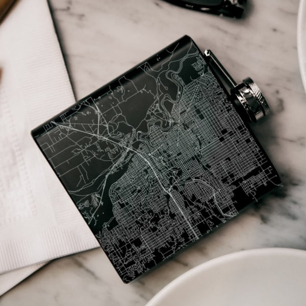 Spokane - Washington Map Hip Flask in Matte Black