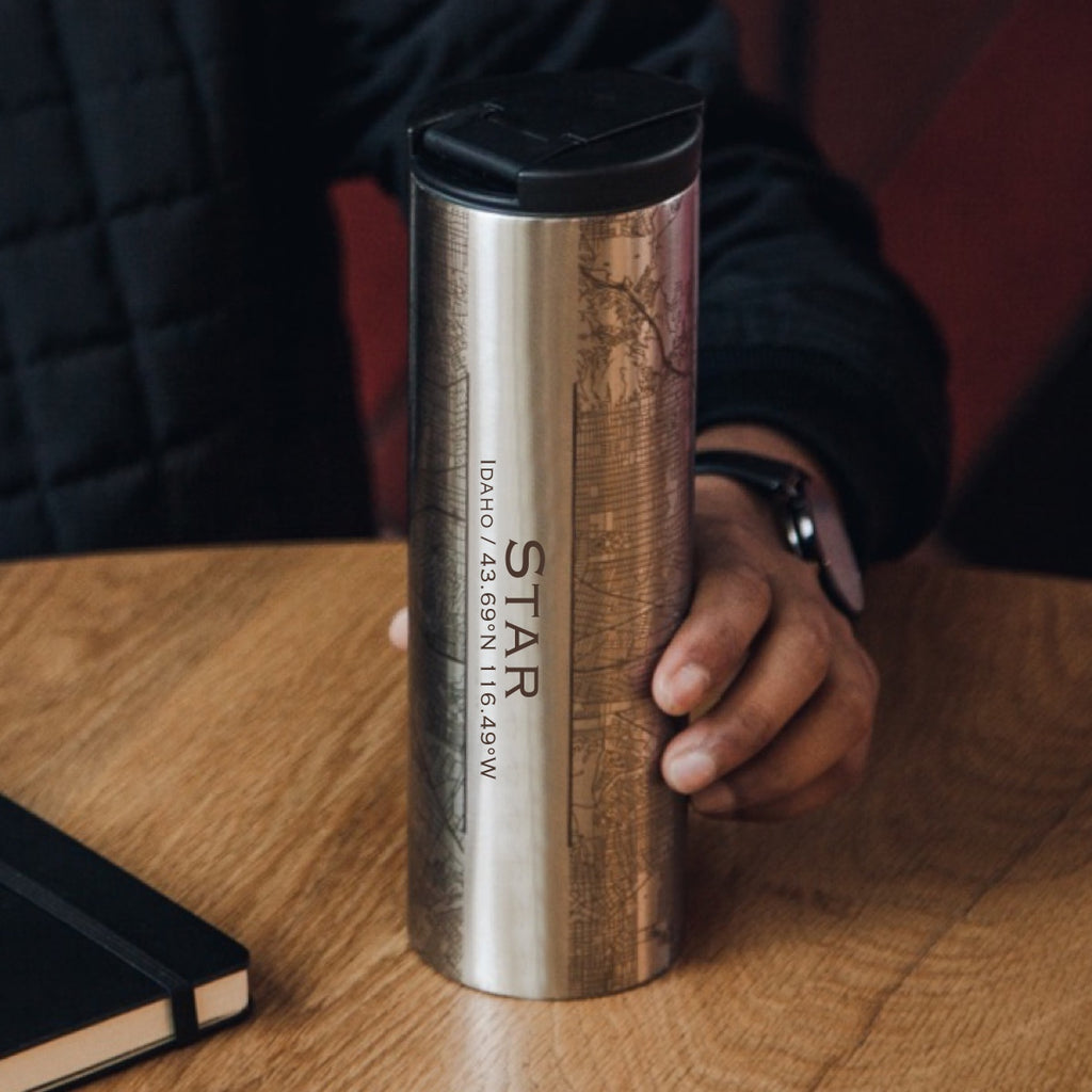 Star Idaho Custom Engraved City Map Inscription Coordinates on 17oz Stainless Steel Insulated Tumbler