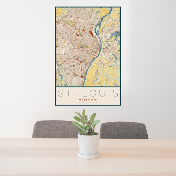 St. Louis - Missouri Map Print in Woodblock