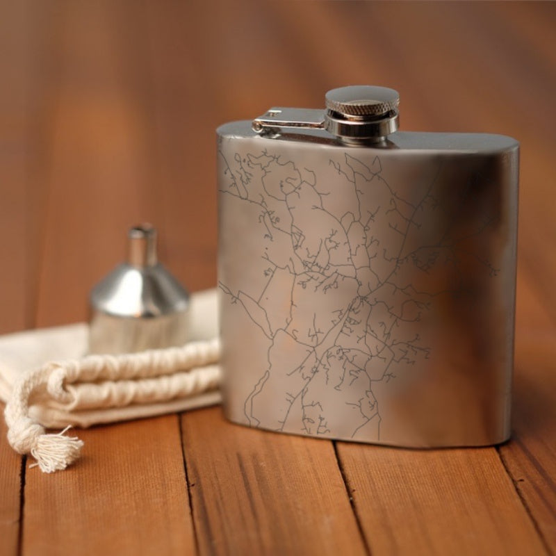 Stowe - Vermont Map Hip Flask