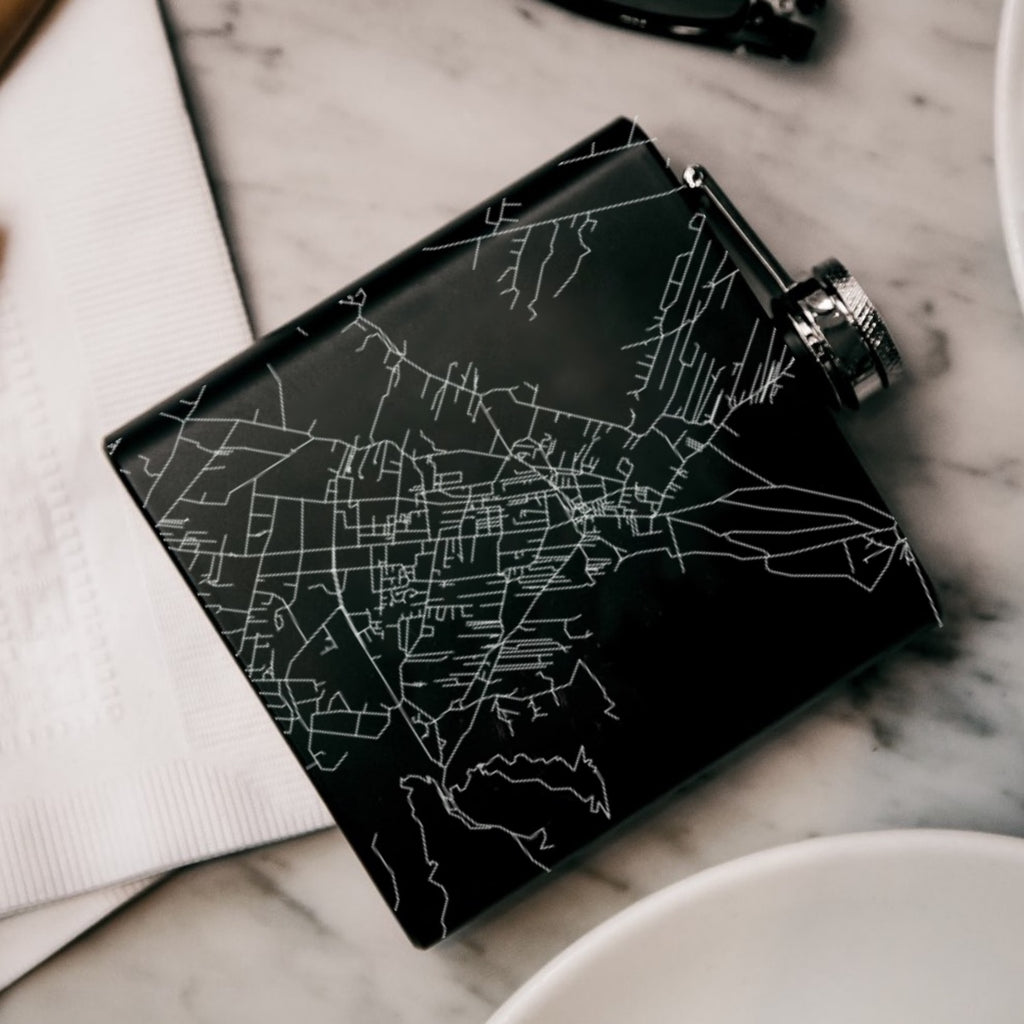 Taos New Mexico Custom Engraved City Map Inscription Coordinates on 6oz Stainless Steel Flask in Black