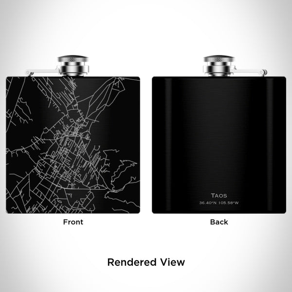 Rendered View of Taos New Mexico Map Engraving on 6oz Stainless Steel Flask in Black