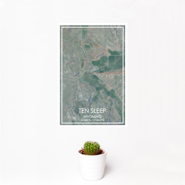 12x18 Ten Sleep Wyoming Map Print Portrait Orientation in Afternoon Style With Small Cactus Plant in White Planter