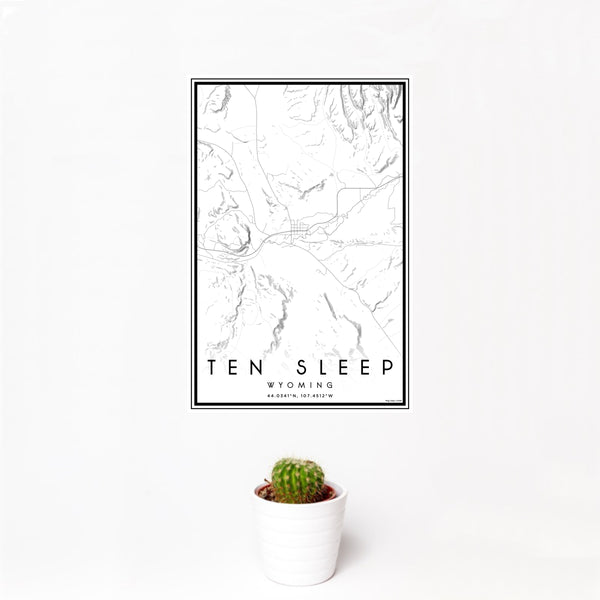 12x18 Ten Sleep Wyoming Map Print Portrait Orientation in Classic Style With Small Cactus Plant in White Planter