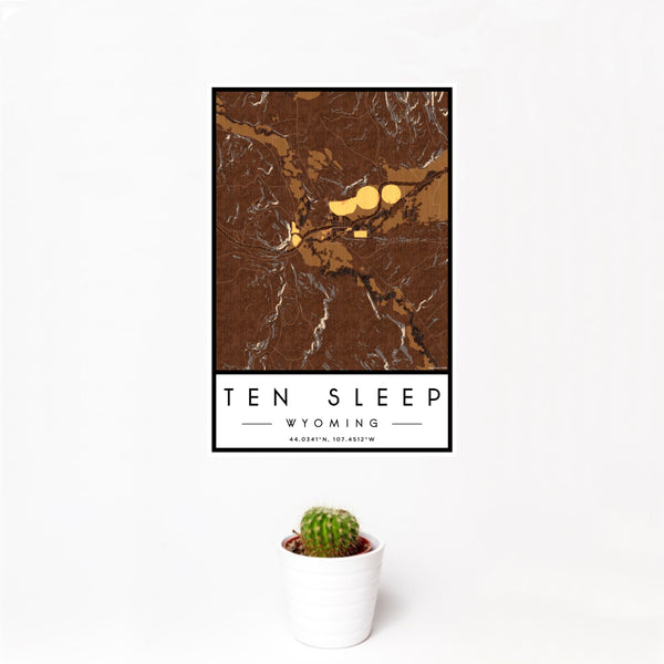 12x18 Ten Sleep Wyoming Map Print Portrait Orientation in Ember Style With Small Cactus Plant in White Planter