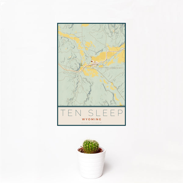 12x18 Ten Sleep Wyoming Map Print Portrait Orientation in Woodblock Style With Small Cactus Plant in White Planter