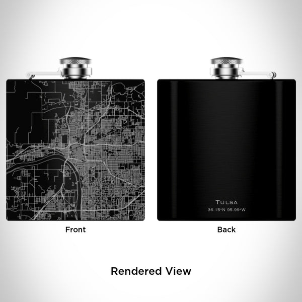 Tulsa - Oklahoma Map Hip Flask in Matte Black