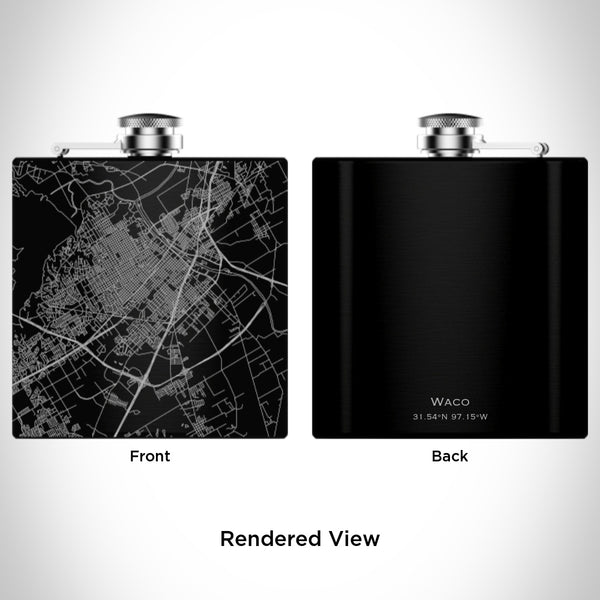 Waco - Texas Map Hip Flask in Matte Black