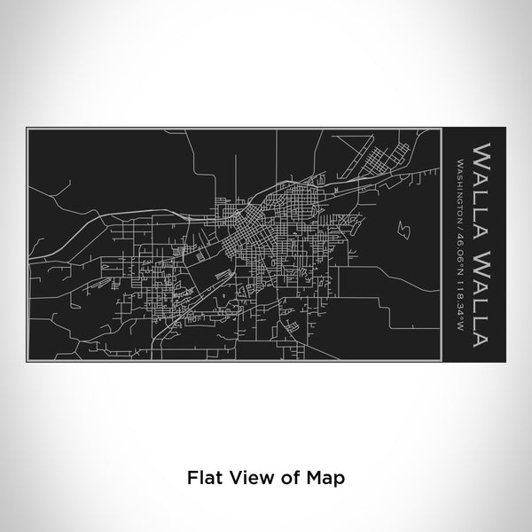 Rendered View of Walla Walla Washington Map Engraving on 17oz Stainless Steel Insulated Cola Bottle in Black
